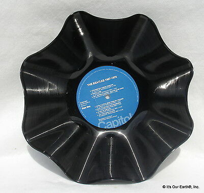 """THE BEATLES Recycled Record Bowl """"1967-1970 (a,k,a, The Blue Album)"""" Music Gift"""