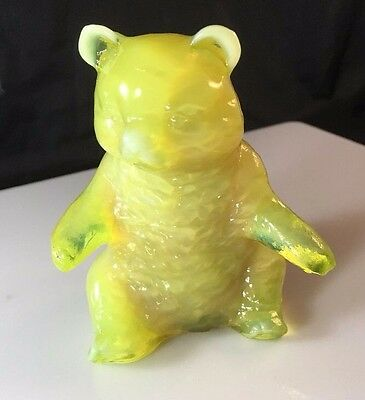 "Vintage Mosser Glass Bear Figurine 3.75"" Tall Lemon Yellow Over Caramel Slag"