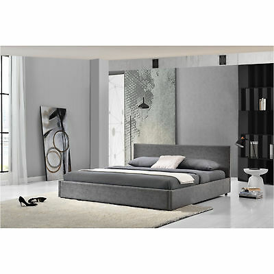 My.Bed Upholstered bed 140x200cm grey imitation leather Double Bedstead