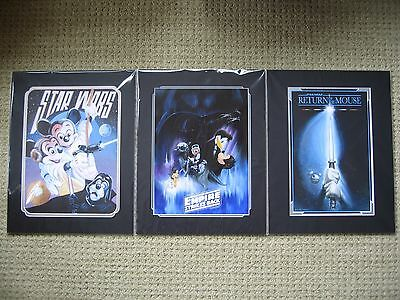 Disney Parks Star Wars Lithograph Set of 3 Mickey Minnie Mouse Empire Jedi 14x18