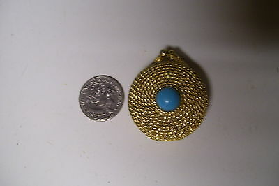 Estee Lauder Solid Perfume Golden Rope Compact Turquoise Cabochon 1968-71 Empty