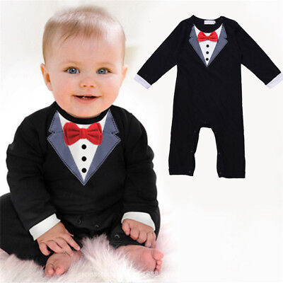 Newborn Kids Baby Boys Infant Outfits Jumpsuit Romper Bodysuit Gentleman Clothes