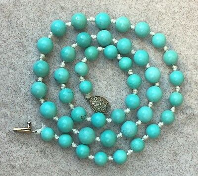 Vintage Antique Chinese Turquoise Beads Necklace SILVER CLASP 35 Grams