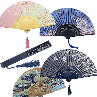 Chinese Japanese Pocket Folding Flower Silk Bamboo Hand Fan Dance Wedding Party