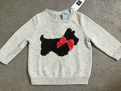 GAP - GREY COTTON JUMPER WITH FLUFFY SCOTTY DOG & RED BOW ON FRONT - 0-3m BNWT