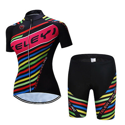 Colorful Women Cyclisme Vélo Short Sleeve Jersey Shorts Set with 3D Gel Padded