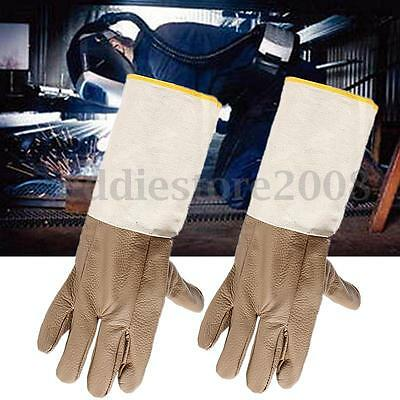 Long Leather Welding Gloves Heat Shield Cover Protective Hand Safety Wear Brown