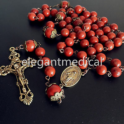 Rare Red Carnelian Rose beads Vintage Catholic Rosary Necklace  Cross crucifix