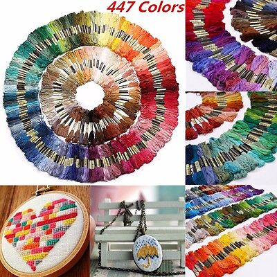 447 Colors Set Cross Art Stitch Thread Pattern Kit Chart Embroidery Floss Skeins