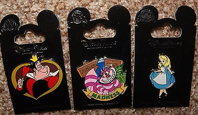 Disney Alice Error No Stockings Wonderland Cheshire Cat Queen Hearts 3 Pin Set