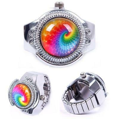 Stylish Round Child Lady Steel Rainbow Pattern Elastic Quartz Finger Ring Watch