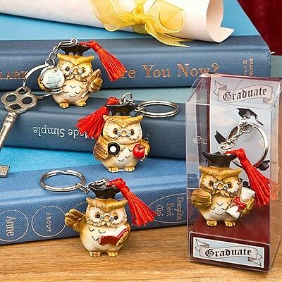 60 Hand Painted Wise Owl Graduation Key Chain gift Favors