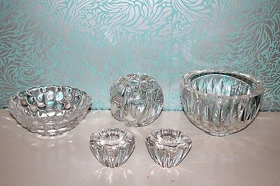 Orrefors Art Glass Collection - Raspberry Bowl / Candle Holders / Bowl / Vase