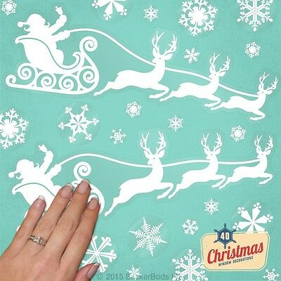40 SNOWFLAKE & SANTA SLEIGH Window Stickers Christmas Decorations REUSABLE Cling