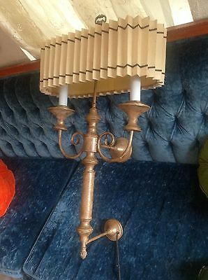 vintage wall sconce light fixture candelabra Hollywood regency with shade tole