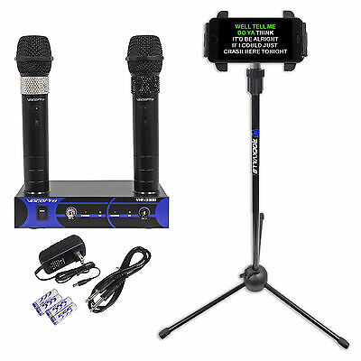 VocoPro VHF-3308-3 Rechargable VHF Wireless Karaoke Microphones+Tablet Stand