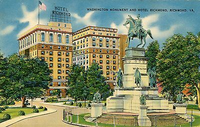 "Richmond Va ""washington Monument And Hotel Richmond""unused Linen Advert Postcard"