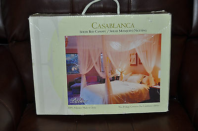 New In Box CASABLANCA Palace Sheer Bed Canopy Mosquito Netting