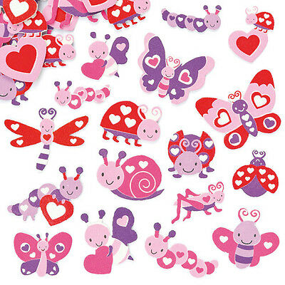 Love Bug Foam Stickers for Kids to Decorate Collage Cards & Craft (Pack of 120)