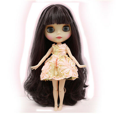 "12"" Neo Blythe Takara Doll 19 Joint Nude Doll Black Purple Long Hair~Matte Face"
