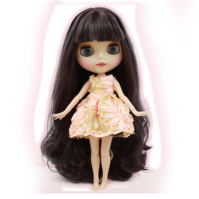 """[wamami] 12"""" Neo Blythe 19 Joints Nude Doll Purple Black Long Hair ~ Matte Face"""