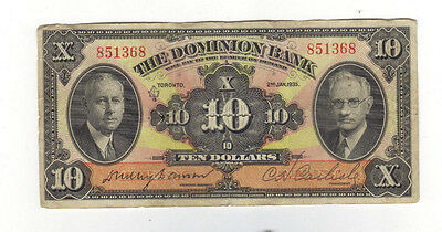 1935 $10 Dominion Bank Banknote, yours for $79.97...BUY IT NOW!