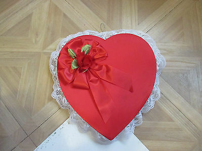VINTAGE  Russell Stover  Valentine Candy Heart Box Red Satin Lace Rose & Bow