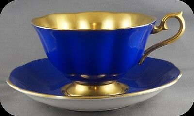 Royal Albert Cobalt Blue Heavy Gold inside Bowl Cup & Saucer