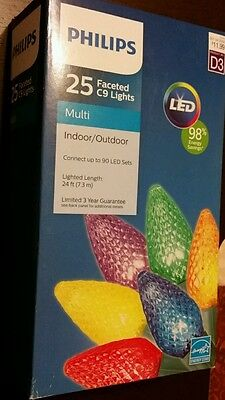 Phillips MULTI Faceted  C9 CERAMIC. 25 count LIGHTS LED Christmas NEW SET