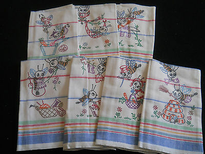 "Vintage 7 ""BEE"" Hand Painted Kitchen/Dish Towels-Striped Cotton-"
