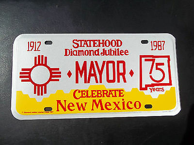 "New Mexico Statehood Diamond Jubilee "" Mayor "" License Plate "" 1912 1987 "" Nm"