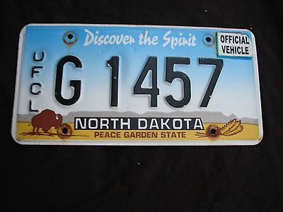 "North Dakota Buffalo Graphic Official License Plate "" G 1457 ""  Nd Ofcl Vehicle"