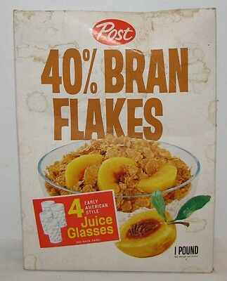 1960's Post 40% Bran Flakes Cereal Box