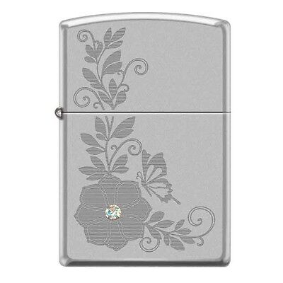 Zippo Engraved Flower and Butterfly with White Swarovski Crystal Lighter