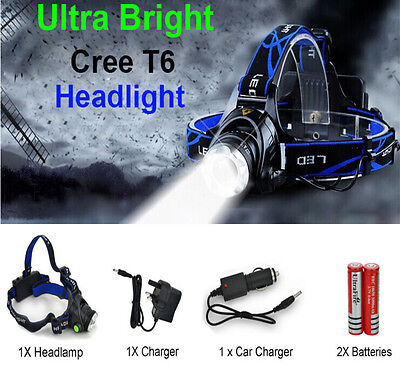 T6 CREE XM-L  LED Rechargeable Head Torch Zoomable Headlamp Headlight wtaerproof