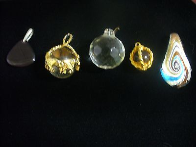 5 Pieces Vintage - Now Costume Jewelry Hand Blown Glass Pendant Lot