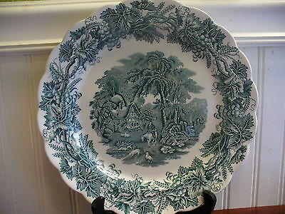 "Booths England Porcelain Teal Green British Scenery 10.5"" Dinner Plate"