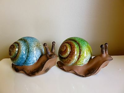 Garden Snails Statues Yard Figurines Lawn Ornament New Resin 5 in. Blue Green
