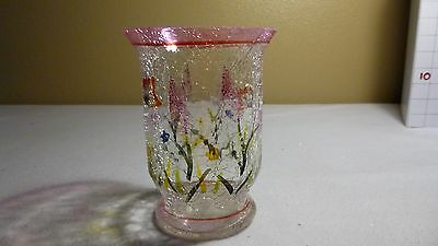 Vtg CRACKLE GLASS VASE - Hand crafted - pink rim & colored flowers - EUC