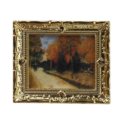 Dollhouse Autumn Scenery Art Painting Mural Wall Picture w/Golden Frame