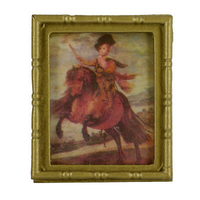 Knight Wall Mural Painting Picture w/Frame for 1:12 Dollhouse Miniature