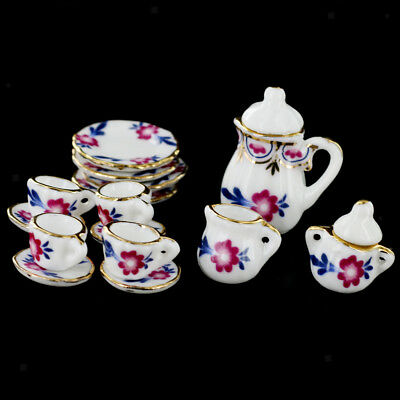 15pcs Dining Ware Floral Porcelain Tea Coffee Set 1:12 Dollhouse Miniature