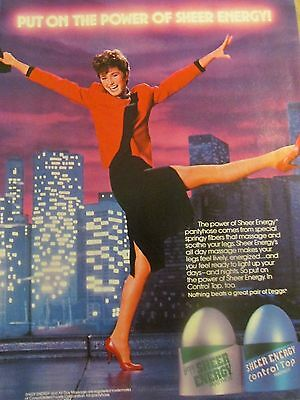 L'Eggs Sheer Energy, Full Page Vintage Print Ad, Nylons, Pantyhose, 1984