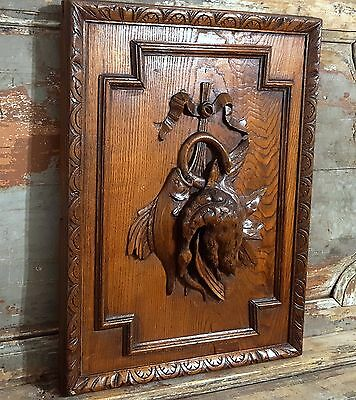 HUNTING CHATEAU PANEL ANTIQUE FRENCH HAND CARVED WOOD SALVAGED PEDIMENT 25.87in