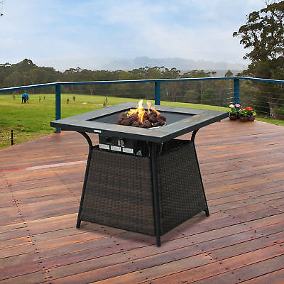 Gas Propane Fire Pit Wicker Design Outdoor Home Patio Heater Camping  Backyard
