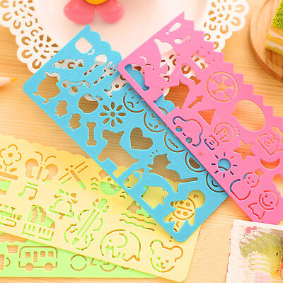 4X Plastic Picture Drawing Template Stencils Ruler Painting Kids DIY Gift New
