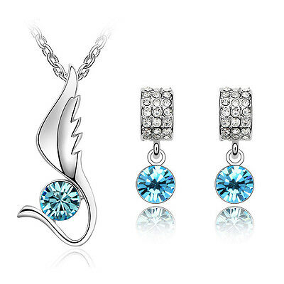Light Blue Jewellery Set Angel Wing Diamond Stud Earrings Pendant Necklace S572