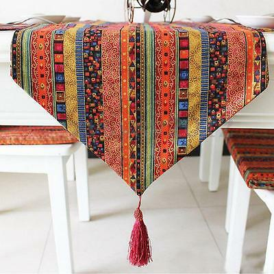 Mandala Cotton Linen Striped Tassel Table Runner Cloth Home Wedding Decoration