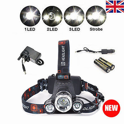 12000LM T6 3 CREE XM-L LED Headlamp Headlight Head Torch Outdoor Bike Camping
