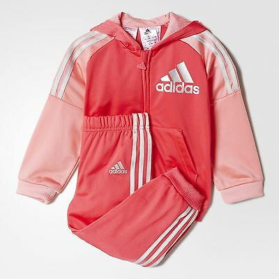 adidas Baby Girl's Hooded Jogger Suit Tracksuit 3 Stripe Branding Pink